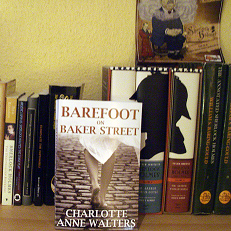 Many thanks to Christina Kerkhoff who sent in this picture from Germany of Barefoot taking his place among the rest of her Sherlockian library.