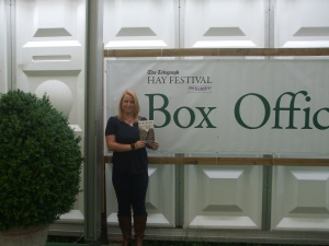 Here's the author with Barefoot outside the box office at the 2012 Hay Literary Festival